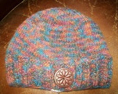 Hand Knit Handknit BUTTON BAND RIBBED KNIT HAT CAP SKICAP HEATHER COLORS BLUE RUST CRANBERRY