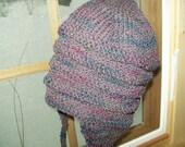 Lightweight Hand knit hand dyed earflap hat New Zealand wool nylon deep grape purple