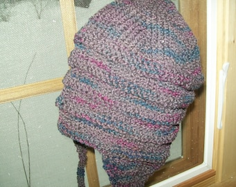 Lightweight Hand knit hand dyed earflap hat New Zealand wool nylon deep grape purple