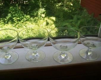 Vintage 30' s 40's etched cut glass crystal dessert pudding glasses goblets stemware wine 4pcs.