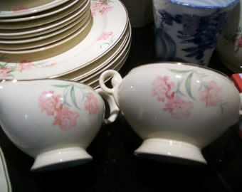 Vintage 1945 Taylor Smith Taylor Pink Carnation China Creamer with free sugar bowl , no lid. Gold trim