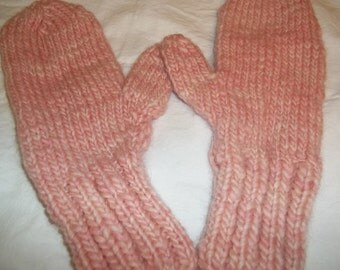 Hand knit rustic style mittens Manos Del Uruguay kettle dyed wool strawberry ice pink large