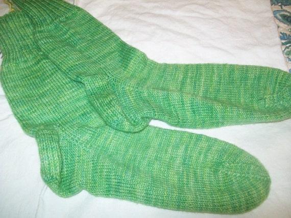 Hand knit  hand dyed merino wool socks stockings M/L summer greens semi solid