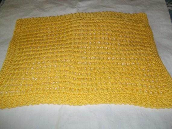 Spa Cloth hand knit textured washcloth baby wipe kitchen dishcloth 100 % pima cotton yellow