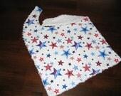 WHITE CHENILLE BABY BIB STARS