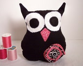 Owl Plush Pillow Black & Pink