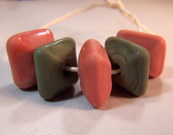 Matte Olive and Coral Chunky Squares - Handmade Lampwork Glass Beads - S/5