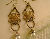 So In Love - Antique Brass Lovebirds, Vintage Pearls and Rhinestones Romantic Earrings