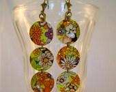 Flower Power - Vintage Retro Floral Orange Flowered Tin Recycled Repurposed Earrings