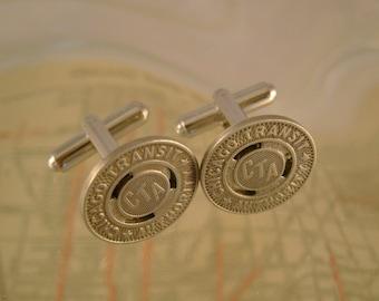 Chicago Transit Authority - Vintage Authentic Chicago CTA Transit Subway Token Cufflinks, Man Gift, Wedding, Groomsman Gift