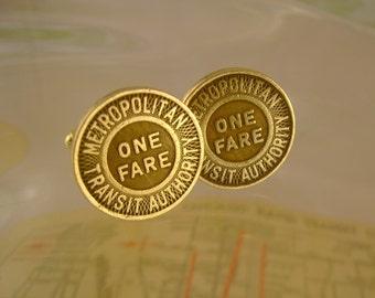 Please Come to Boston - Vintage Authentic Boston MTA Transit Subway Token Cufflinks, Man Gift, Groomsman Gift