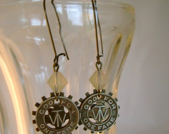 The W - Vintage Transit Token Watch Gears Steampunk Recycled Repurposed Earrings