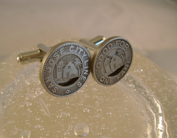 Do You Know the Way - Vintage Authentic 1950s Midcentury San Jose Transit Token Cufflinks, Man Gift, Groomsman Gift