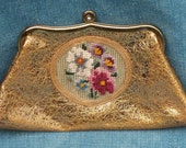 Needlepoint Gold Clutch Purse