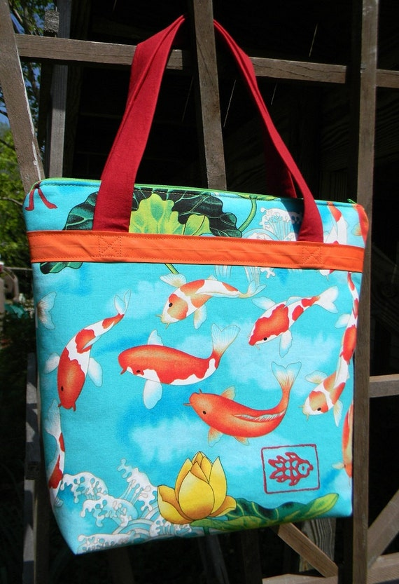 Emma Tote in Koi and Lotus print