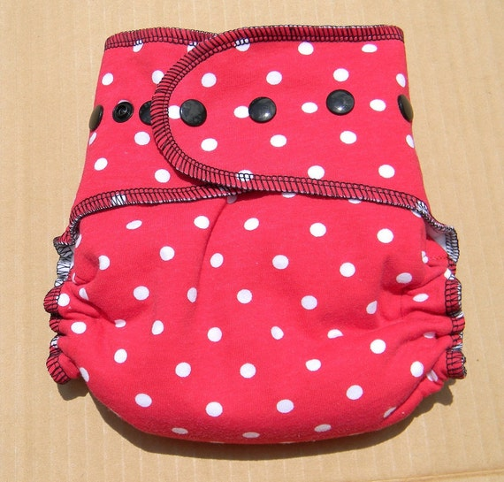 Nifty Nappy One Size All In Two Diaper AI2 Minnie Mouse Polka Dot
