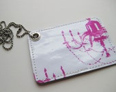 Pass/ID Case---Chandelier-Pink on White