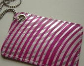 Metallic Wallpaper Pass\/ID Case with Hypnotic Pattern --- Pink