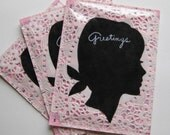 Greeting Postcard---Girl on doily and pink music sheet-set of 3