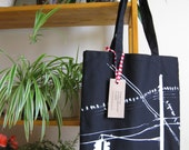 Brooklyn Pigeons Hanging Out --- Hand Screen Printed Tote (BLACK)