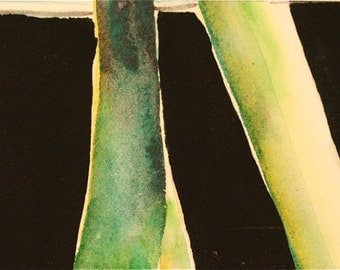 ACEO    yellow green black flower stalks abstract original watercolor archival paper OOAK