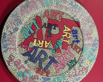 """Original painting  red yellow cobalt hand painted wooden plate words design texture """"who did you say art was""""--round circle"""