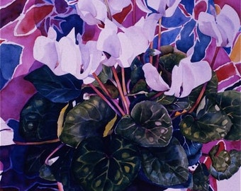 Cyclamen floral still life note cards white greens purple violet blank inside