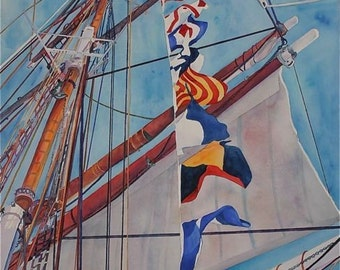 Blues white primary colors Giclee print of an original watercolor   THE ELlSSA  , Tall Ship --11 X 14 print