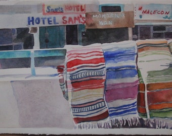 ORIGINAL watercolor Mexican blankets red blues purples cobalt  watercolor HOTEL SAMS  Mexico travel hotel signs  Ooak