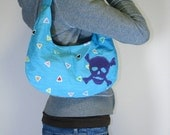 Skull and Crossbones Hobo Bag w\/ Wallet