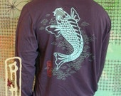 SALE Japanese Koi Art Asian vintage fish tattoo navy Mens longsleeve T