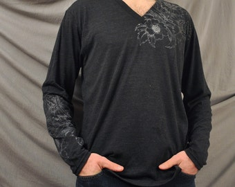Floral Etching V neck Longsleeve only small