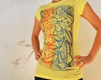 floral etching T only XXL