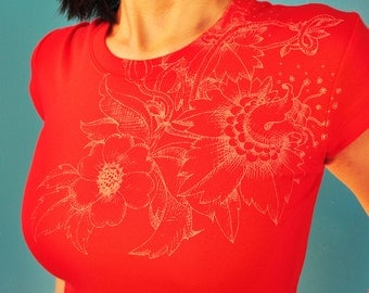 Bright RED fLoRaL etChiNg T