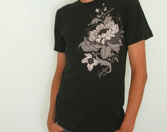 Metalic FloWeR on Black Organic mens T   S and XL