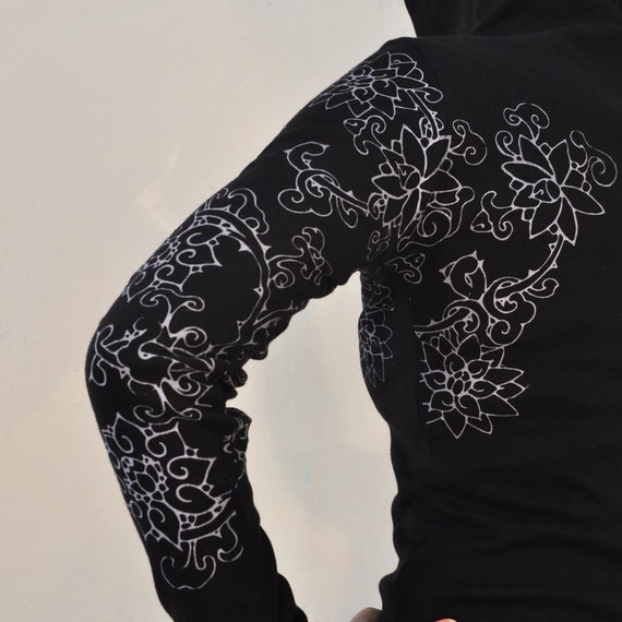 Thorny Tattoo Sleeve Black Hoodie