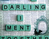 Fine Art Photography 8x8 oh darling together breakup blue scrabble tiles banannagrams