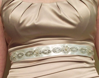 Rhinestone and Satin Bridal Belt/Sash