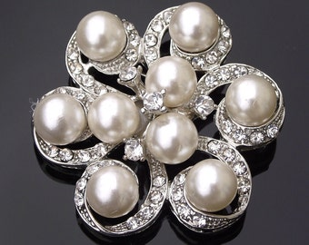 Nine Ivory Pearls & Crystal Brooch or Hair Clip, Naomi