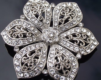 Victorian Style Crystal Rhinestone Flower Brooch, Vintage Style Wedding Brooch Pin, Natalie