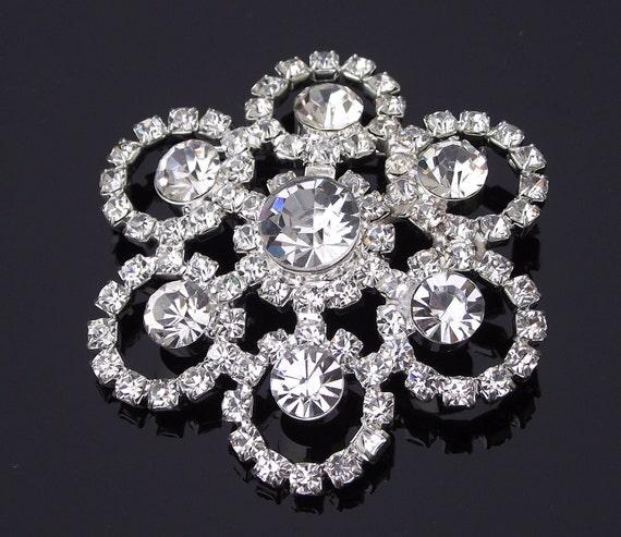 Rhinestone Vintage Style Brooch, Sash Brooch Pin, Bridal Crystal Brooch, MILAN