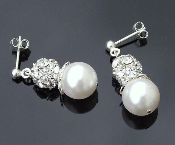 Beautiful Bridal Pearl Earrings, Ivory Swarovski Pearl & Silver Earrings, JOY