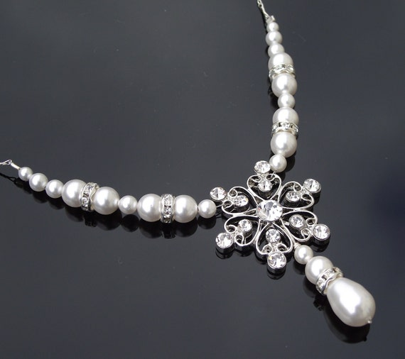 Vintage Style Rhinestone Pearl Necklace, Willow