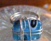 Blue Skies, Wire Wrapped Ring in Blue and Silver