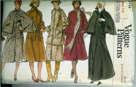 VOGUE Misses Coat CAPELET and Skirt Sewing Pattern size 14