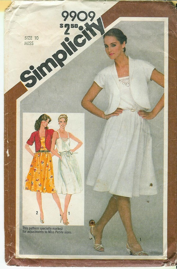 VINTAGE 1981 Simplicity Misses Pullover DRESS and Bolero Jacket Sewing PATTERN