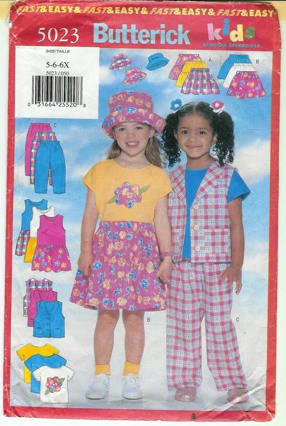 1997 Butterick Childrens VEST Dress T shirt SKIRT Shorts Pants and Hat Sewing Pattern
