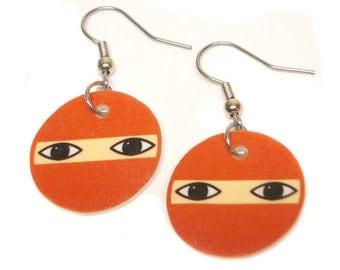 Red Ninja Head Earrings