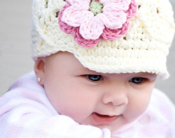 Ivory Newsboy Hat for Girls, 0-3 Months White Beanie with Brim, Flower Beanie with Brim, Newsgirl Hat, Baby Hat with Brim, Childrens Hat