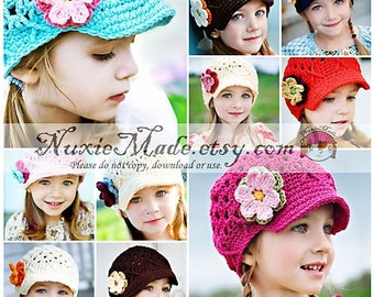 Girls Hat, Crochet Hat, Kids Hat, Newsboy Hat, Newsgirl Hat, Childrens Hat, Custom Hat, Hat with Flowers, Hat with Brim, Free US Shipping